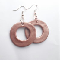 Pearl Pink Hoop Earrings