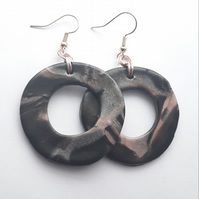 Black and Pink Hoop Earrings