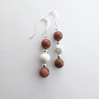 Goldstone and Howlite Bead Earrings