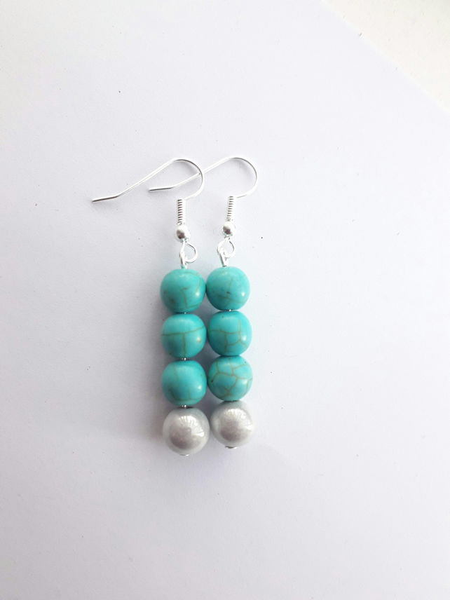 Turquoise and Miracle Bead Earrings