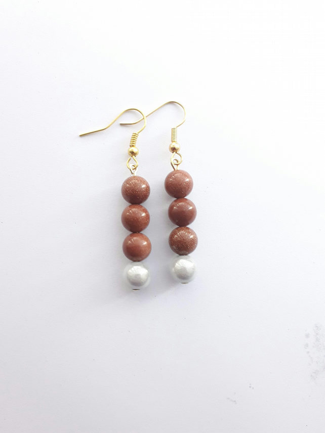 Goldstone and Miracle Bead Earrings