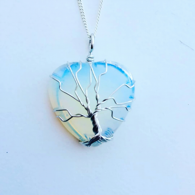 Opalite Tree Of Life Heart Necklace
