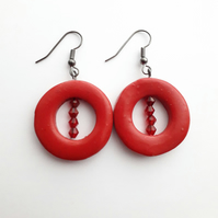 Red Polymer Clay Bead Hoops