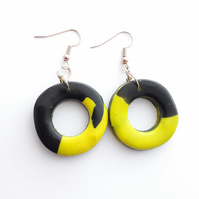 Yellow and Black Polymer Clay Hoops