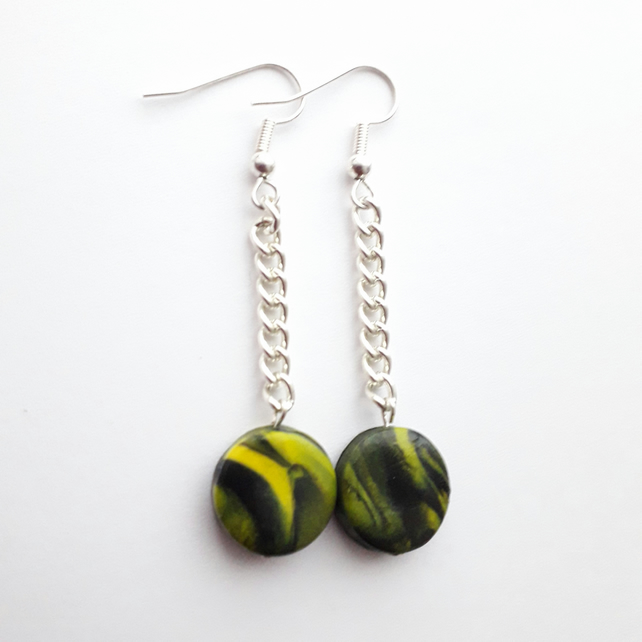 Yellow and Black Button Chain Dangle Earrings