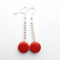 Red Button Chain Dangle Earrings