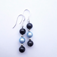 Blue Goldstone and Miracle Bead Earrings