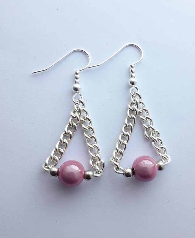 Pink Miracle Bead Swing Chain Earrings