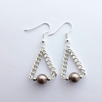 Brown Pearl Chain Swing Earrings