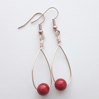 Red Miracle Swing Bead Earrings