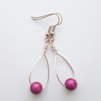 Hot Pink Miracle Swing Bead Earrings
