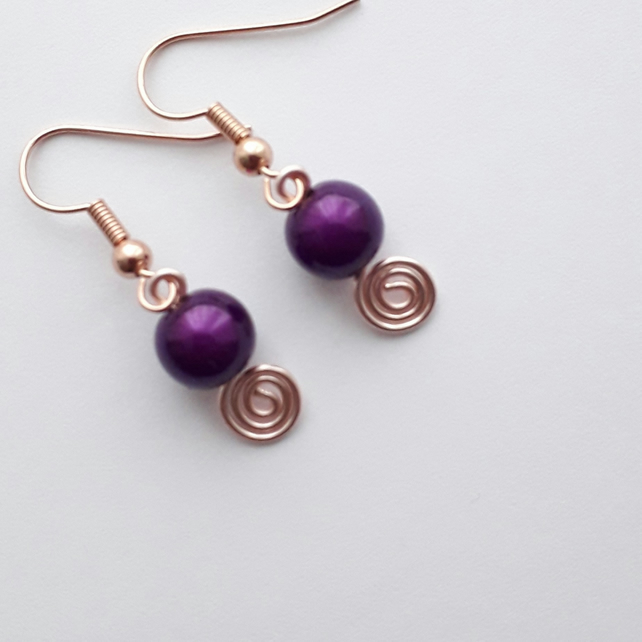 Purple Bead Spiral Earrings