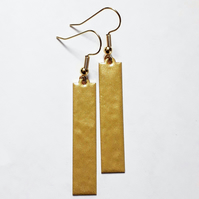 Gold Dangle Strip Earrings