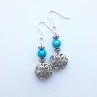 Light Blue and Silver Bead Earrings