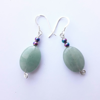 Aventurine and Hematite Dangle Earrings