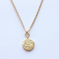 Aquarius Charm Necklace - Gold Plated