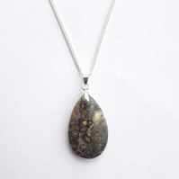 Leopardskin Rhyolite Pendant Necklace