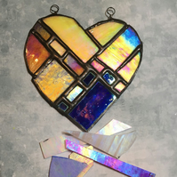 Puzzle Glass Heart Ornament - Stained Glass