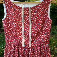 Red Floral vintage inspired tea dress, lace trim,