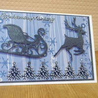 Christmas reindeer with sled card - blue