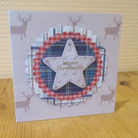 Christmas card - Merry Christmas Tartan and Stags