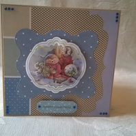Happy Christmas Cute Hedgehog Decoupage Card