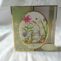 Birthday Card - Spring Flowers and Watering Can - Happy Birthday