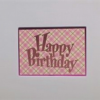 Pink Happy Birthday card - Free Postage