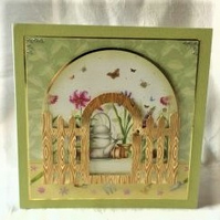 All Occasion Card Featuring Spring Flowers and Garden Gate