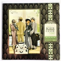 1920's Style Bon Voyage Card (Black and Silver)