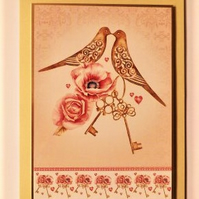 Engagement card love birds and keys