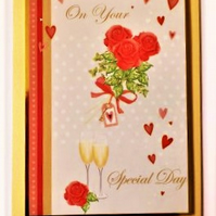 Wedding card with champagne and roses