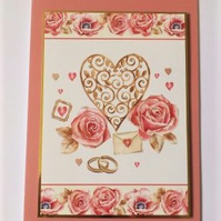 Wedding Card - Vintage Rose - Free Postage