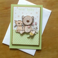 New Baby Card - Green - Free Postage