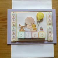 New Baby Card - Lilac - Free Postage