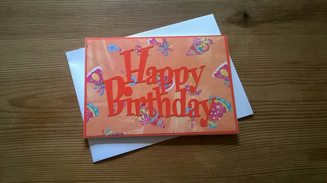 Happy Birthday card in orange - Free Postage