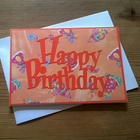 Happy Birthday card in orange