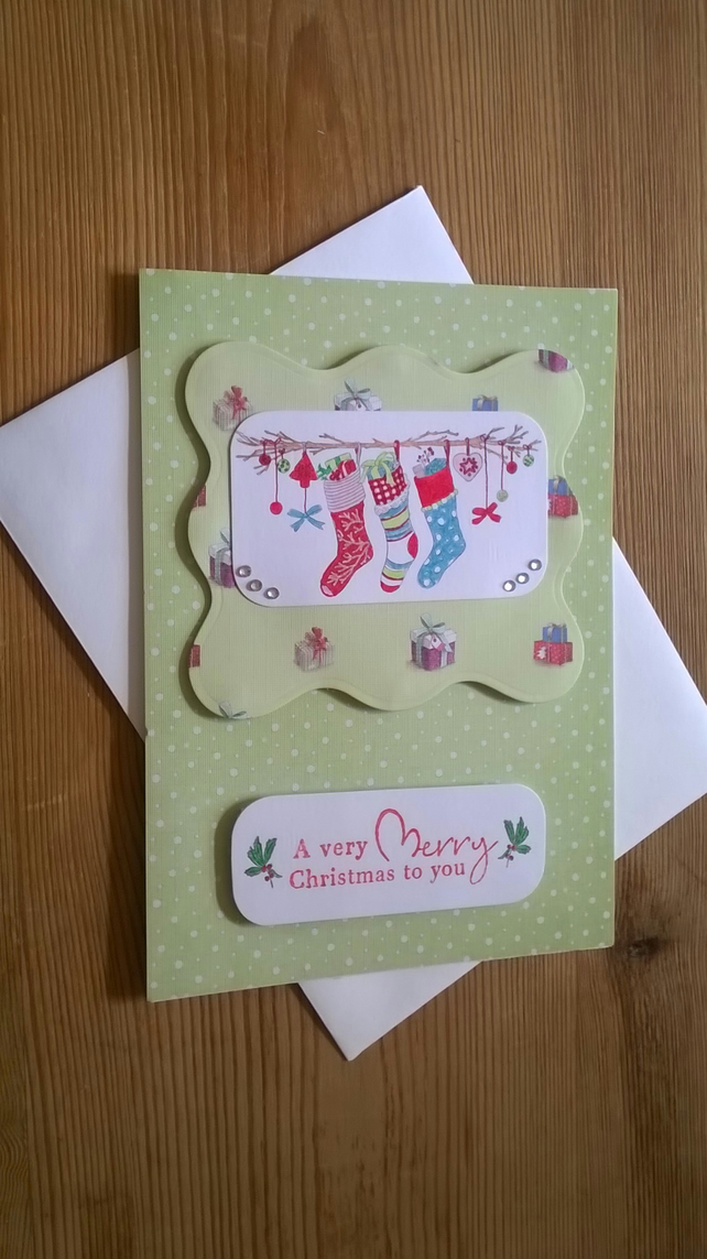 Christmas Stockings Card in pale green - Free Postage