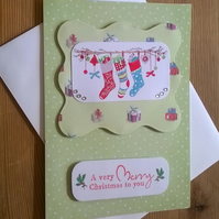 Christmas Stockings Card in pale green