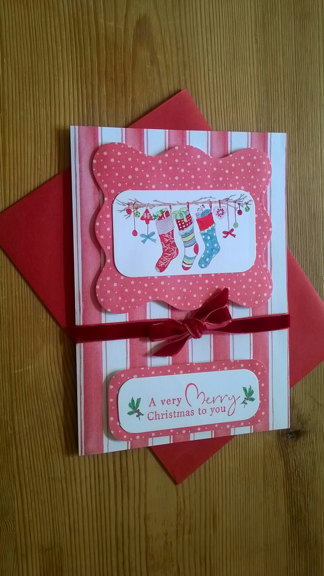 Christmas Stockings Card in Red - Free Postage