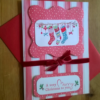 Christmas Stockings Card in Red