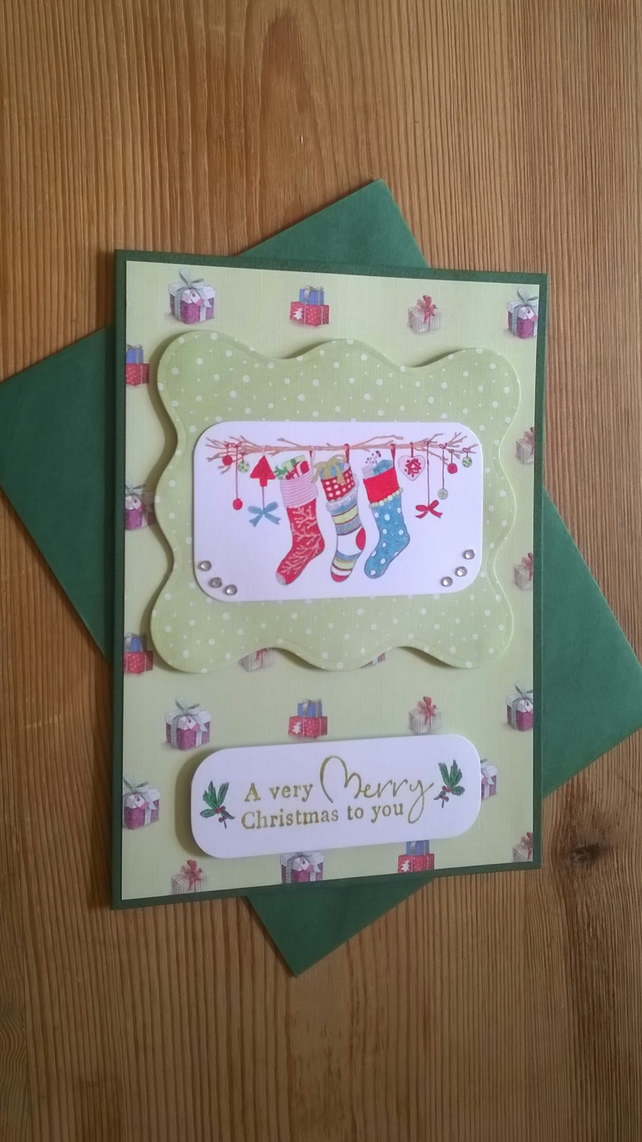 Christmas Stockings Card - Green - Free Postage