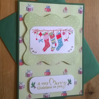 Christmas Stockings Card - Green
