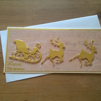 Christmas reindeers with sled card - gold - free postage