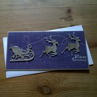 Christmas reindeers with sled card