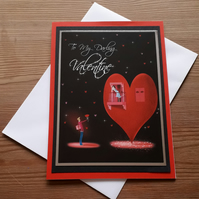 Window to Heart - Black and Red Valentines Day Card