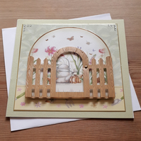 All Occasion Card - Spring Flowers and Garden Gate - free postage