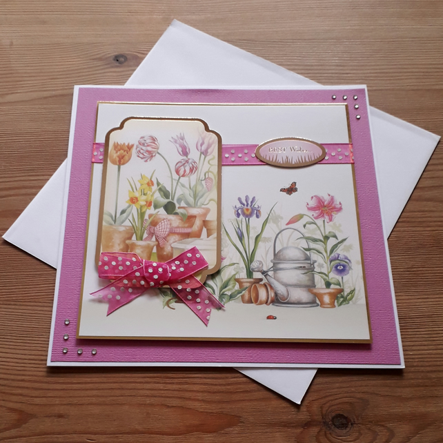Pink Card - Best Wishes - Spring Garden - free postage