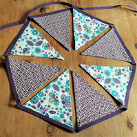 Bunting – fabric, floral purple