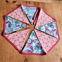 Bunting – fabric, bright pink and blue